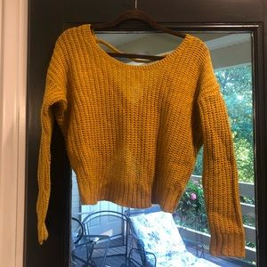 Sweaters - Gold cropped sweater with Knot Back